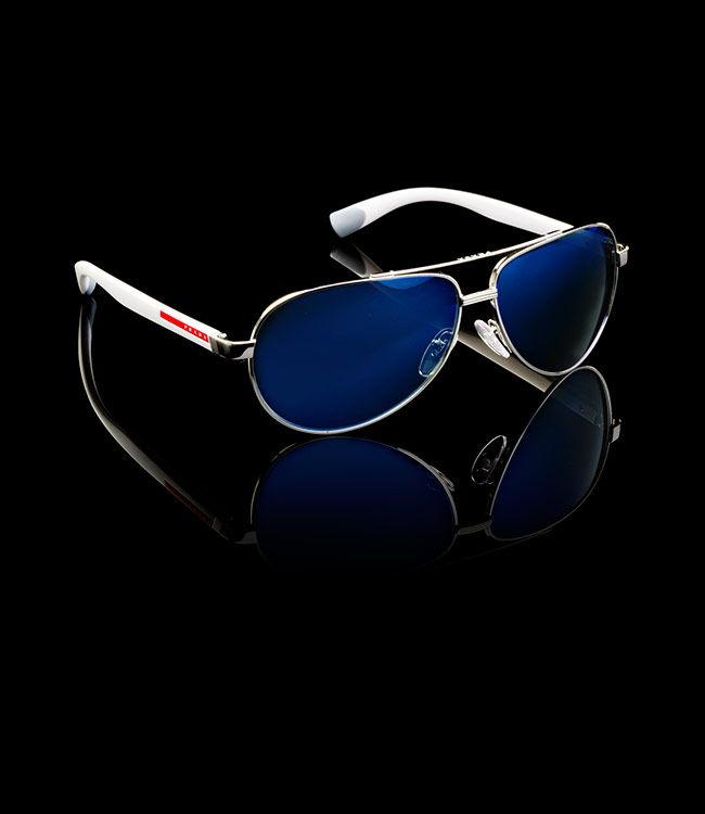 Prada | Sunglasses | 2014 | LINEA ROSSA EYEWEAR STEEL GRAY METAL AVIATOR FRAMES OPAQUE WHITE INJECTED PLASTIC TEMPLES PRADA LINEA ROSSA LOGO COLOR GRAY LENSES WITH BLUE MIRROR FINISH