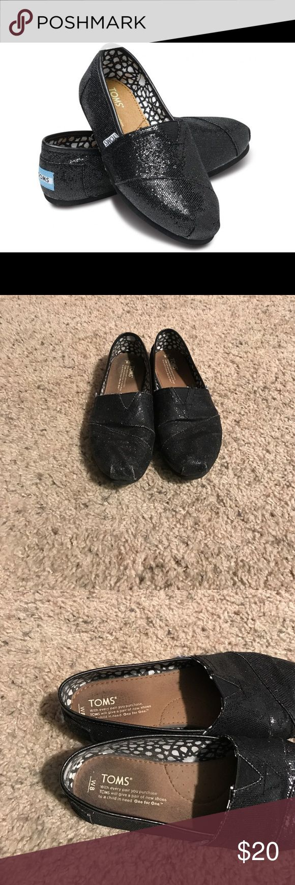 Black Glitter TOMS Bag Included These shoes have some wear, but have plenty of life left in them!  There's a little bit of scuffing on the toes (see pics), but the shoes themselves are still in great shape.  Open to offers and bundles! TOMS Shoes Flats & Loafers