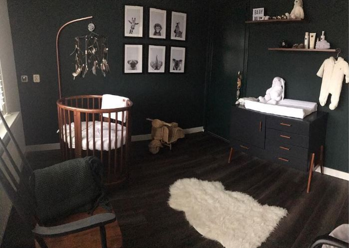 Black Nursery with Wood Accents and Stokke Sleepi Crib in Bassinet