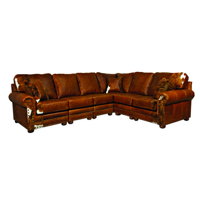 Western Furniture: Outlaw Sectional Sofa with Hair on Hide|Lone Star Western Decor