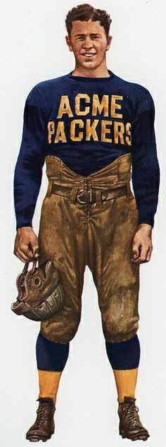 """Earl """"Curly"""" Lambeau, player-coach for the Green Bay Packers 1921. Art by Merv…"""