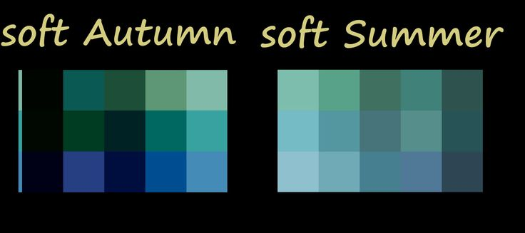 Soft Autumn compared to Soft Summer blue/greens .... notice S.Autumn has a golden undertone while soft summer has a blue undertone -- just a smidgen different