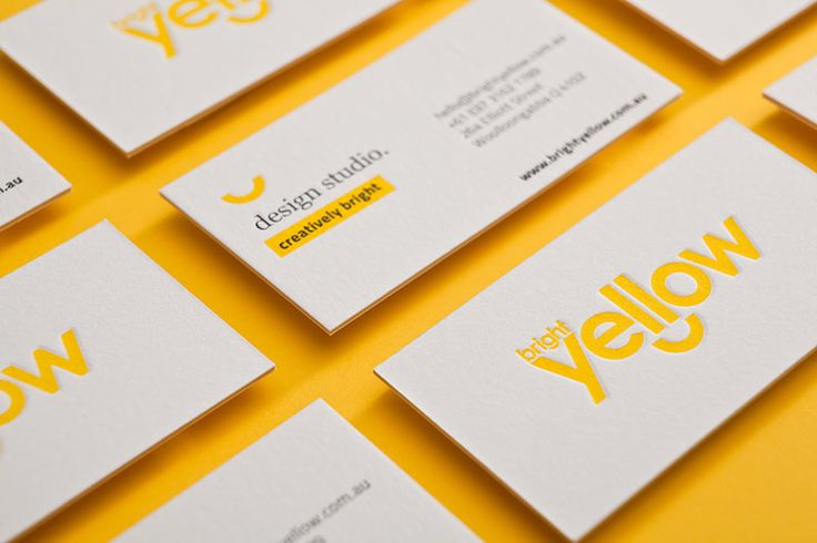Double trouble - Triplexed and letterpresses business cards for BRIGHT YELLOW.  Super thick card, with a sheet of Optix Tera Yellow sandwiched between two soft sheets of Crane Lettra Fluorescent White, a process called 'triplexing'.