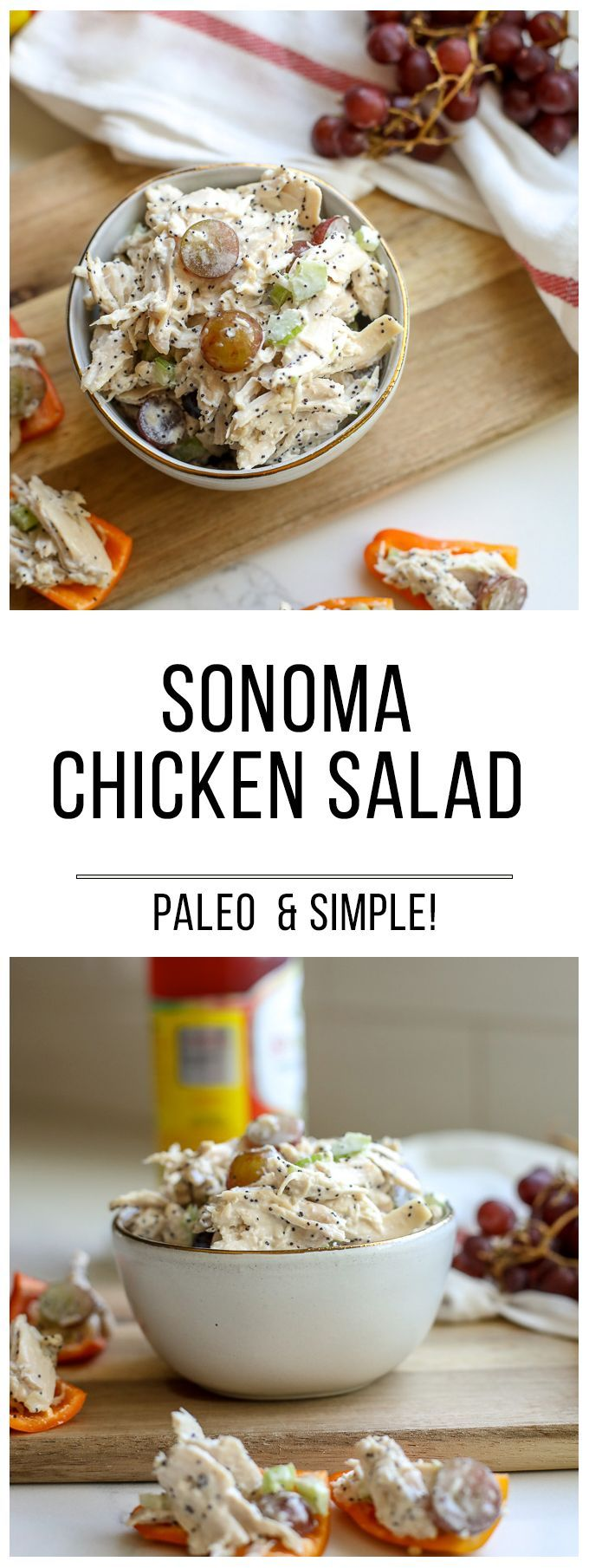 This Sonoma Chicken Salad is a favorite to people of any age or diet! Paleo and perfect for a quick lunch you can prep ahead of time!