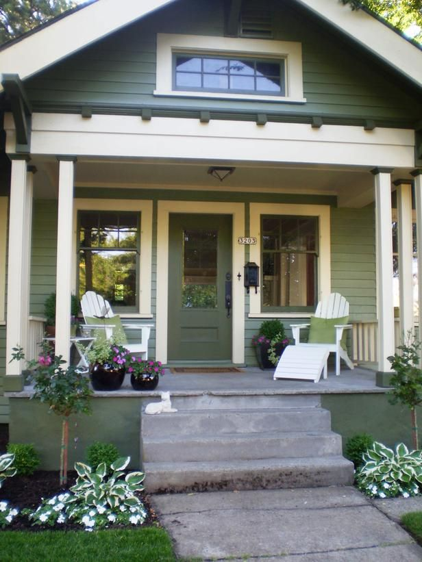 Cottage PorchGreen is the defining color on this porch. Using the same hue throughout is a great way to create a cohesive look.