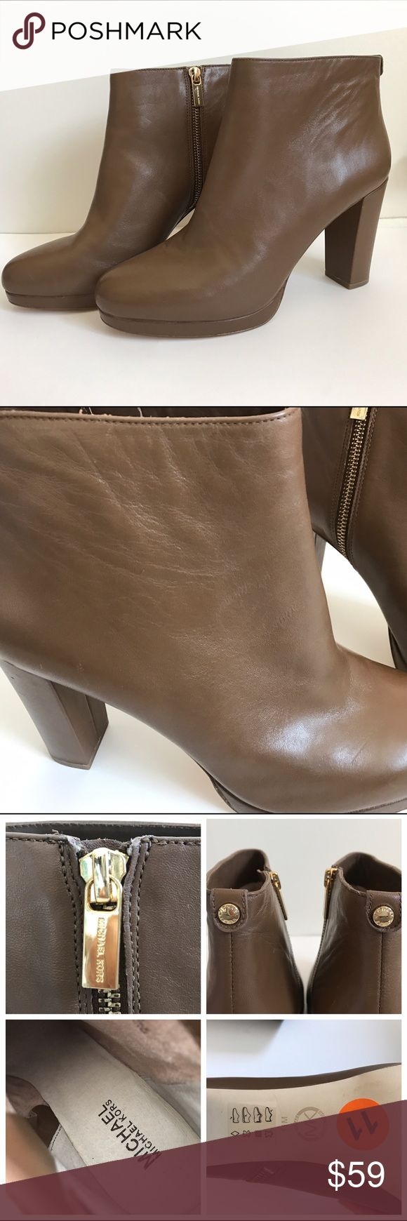 LIKE NEW Micheal kors brown leather ankle boots Like new condition. Michael Michael kors brown leather ankle boots. Has some minor scratches. MICHAEL Michael Kors Shoes Ankle Boots & Booties