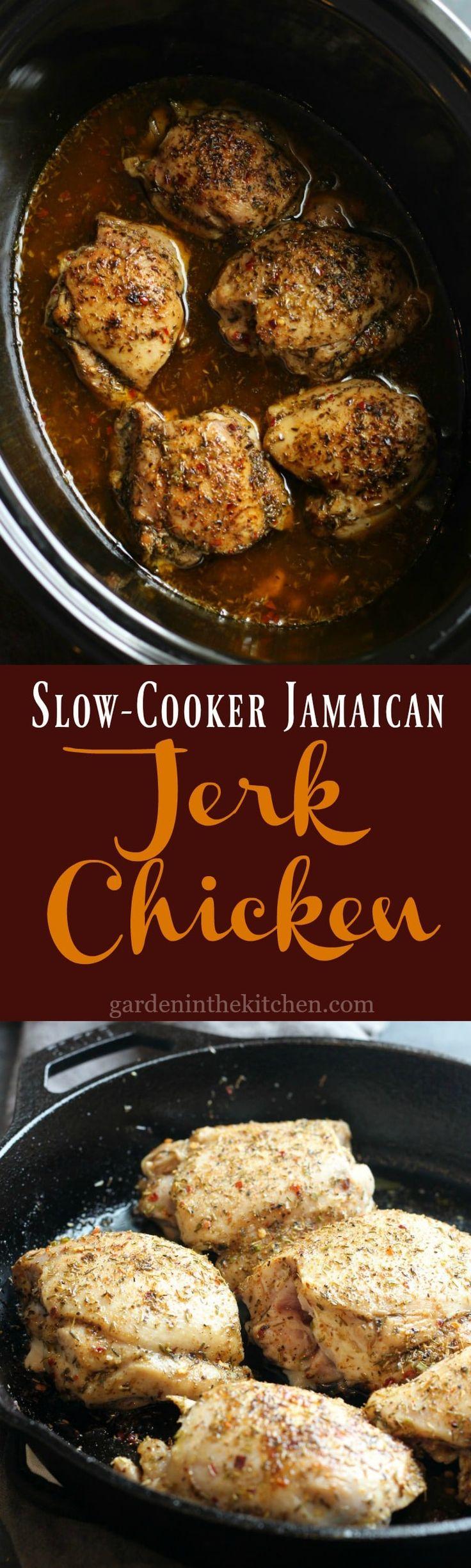 Slow Cooker Jamaican Jerk Chicken | gardeninthekitchen.com #jerkchicken #slowcookerchicken