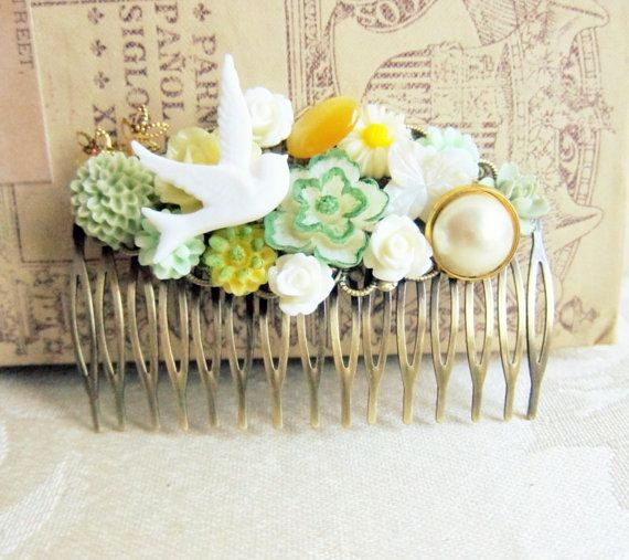 Bridal Hair Comb Soft Green Hair Comb Sage Green by Jewelsalem