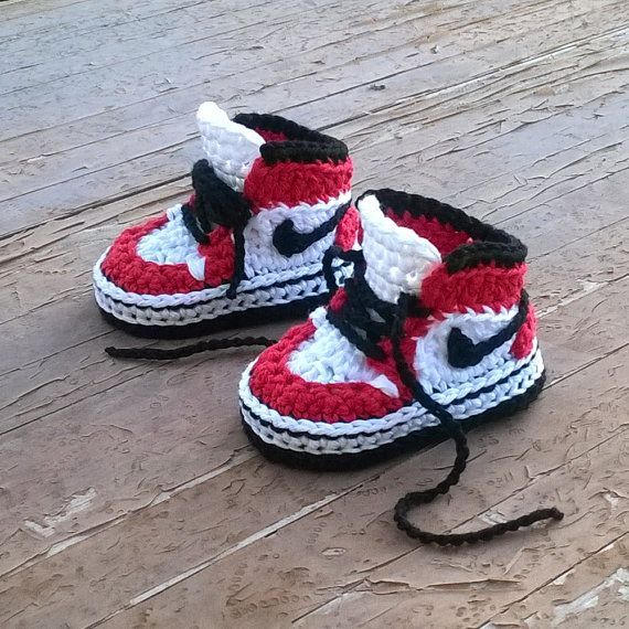 oOo___ Instant Download Pattern___oOo  This listing is for a PDF crochet pattern only and not the finished ítem.  You will receive elaborated written PDF in ENGLISH and SPANISH for crocheting this original baby sneakers which remind us the popular and mythical 1985 Air Jordans sneakers. It is a step by step tutorial with more than 50 photos and clear instructions to make it easier. As an instant download pattern, the link will be emailed to you once payment is received. If you need more…
