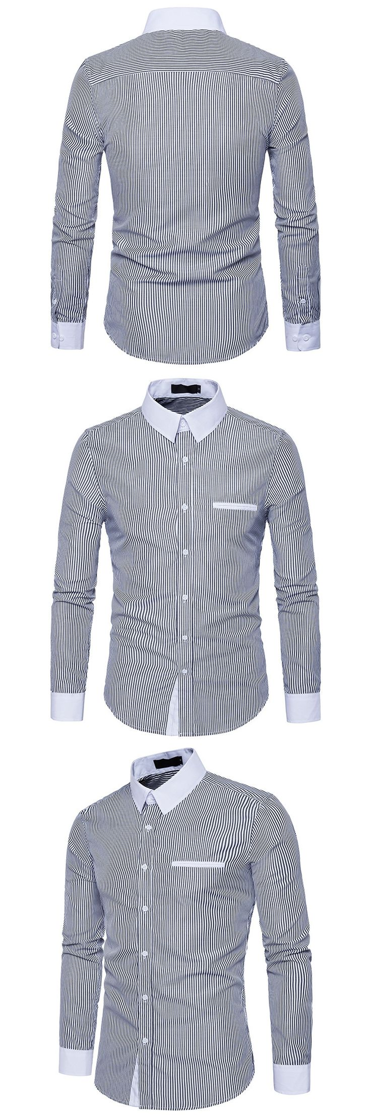 2017 Fashion New Mens Striped Shirts with Long Sleeved Male Imported Urban Clothing White Collar Designers Man Shirt