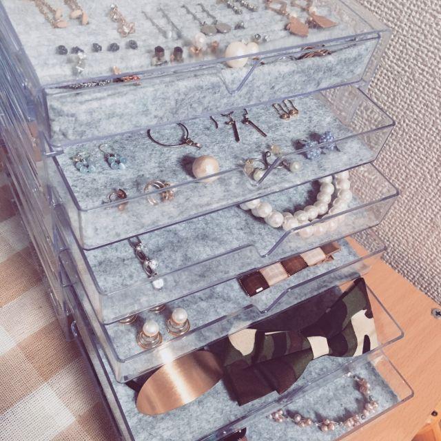 3段ケース+フェルトでアクセサリー、ヘアアクセ収納 3段ケース200円商品×2、フェルト108円