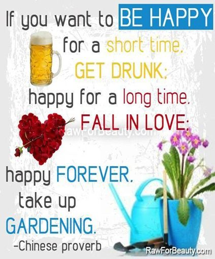 if you want to be happy for a short time, get drunk; happy for a long time, fall in love; happy forever, take up gardening.-Chinese proverb |