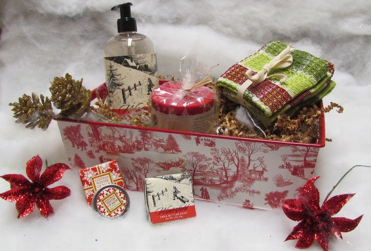 A pillar candle, cleverly packaged as part of a gift basket by Woodstock Hardware