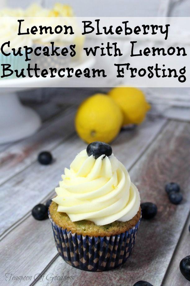 Zitronen-Blaubeerkleine kuchen mit dem Zitronen-Buttercreme-Bereifen – #Dem #kuc…