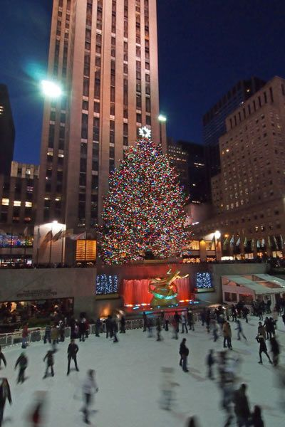 New York City, United States    Decorated with more than 30,000 multi-colored energy-efficient LED lights and crowned with a Swarovski star, the Rockefeller centre Christmas tree is a world-wide symbol of the festive season that appears every year in New York City.