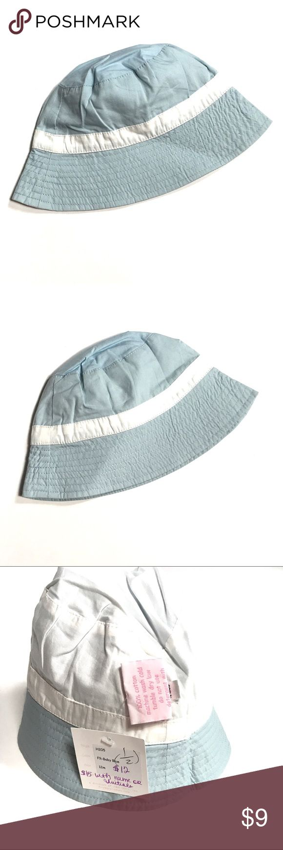 NEW Frumpy Rumps Infant Bucket Hat 12M New with tags. Blue and white hat for baby. 100% cotton Frumpy Rumps Accessories Hats