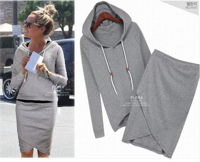 Skirt and top set women active wear hoodies designer sweatshirt skirt twinset tracksuits flora clothing 2 piece sets