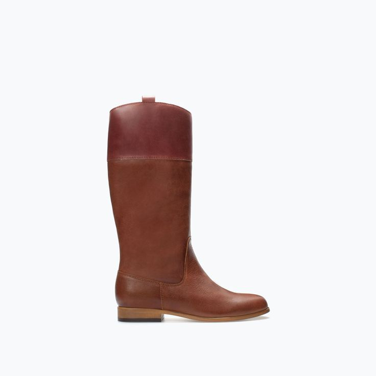 Image 1 of COMBINED LEATHER RIDING BOOT from Zara  Blakley