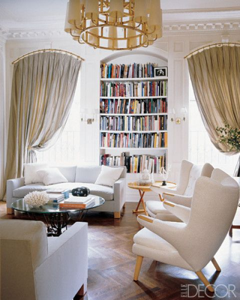 Family room inspiration -  Library of a Manhattan townhouse, a custom-made Astor sofa by Jonas Upholstery in a Great Plains fabric, and a circa-1958 Royère chandelier from DeLorenzo Gallery.    Designer: Lee Mindel - Dec 06