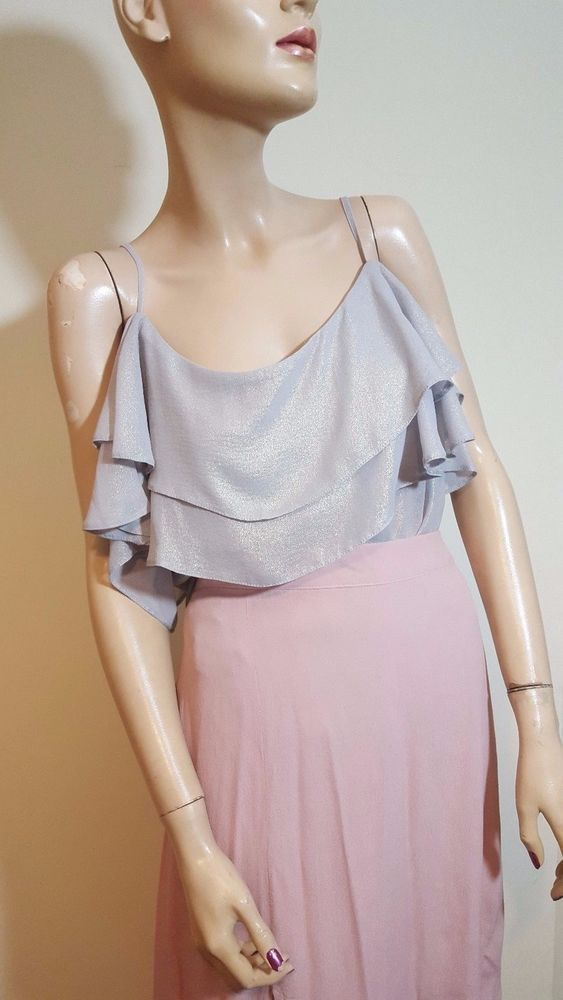 🦄 Atmosphere Size 16 Silver Sparkly Glittery Metallic Ruffle Cami Top Vest  #Atmosphere #Cami #Casual