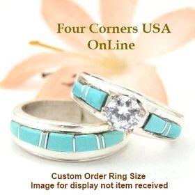 custom order size turquoise wedding engagement ring set ella cowboy custom order ecws t - Navajo Wedding Rings