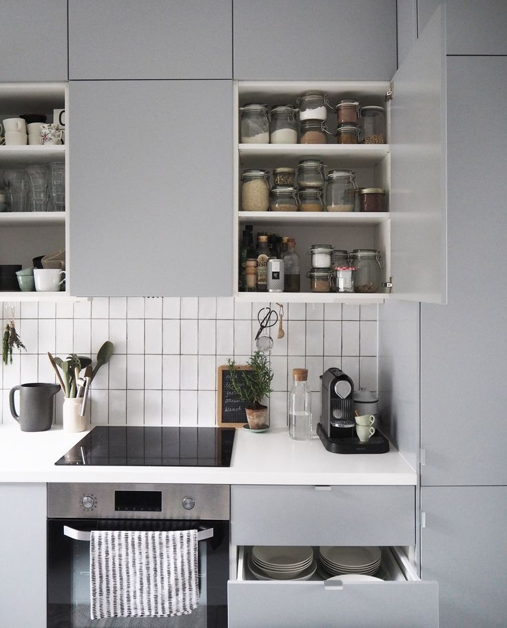 IKEA VEDDINGE grey kitchen - clever storage solutions for small spaces