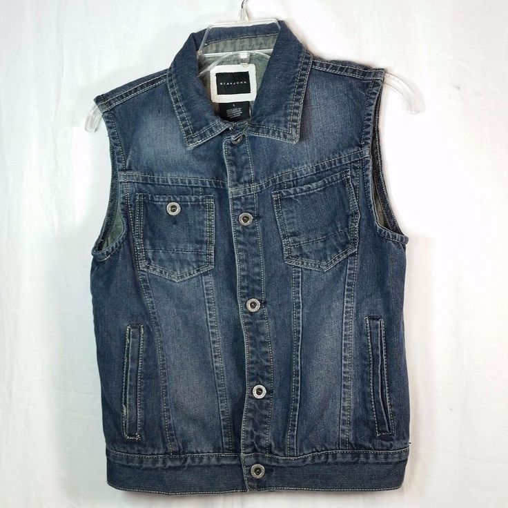 Sean John Men's Blue Wash Denim Jean Vest Size Large #SeanJohn #Vest #ebayrocteam #vestsmen