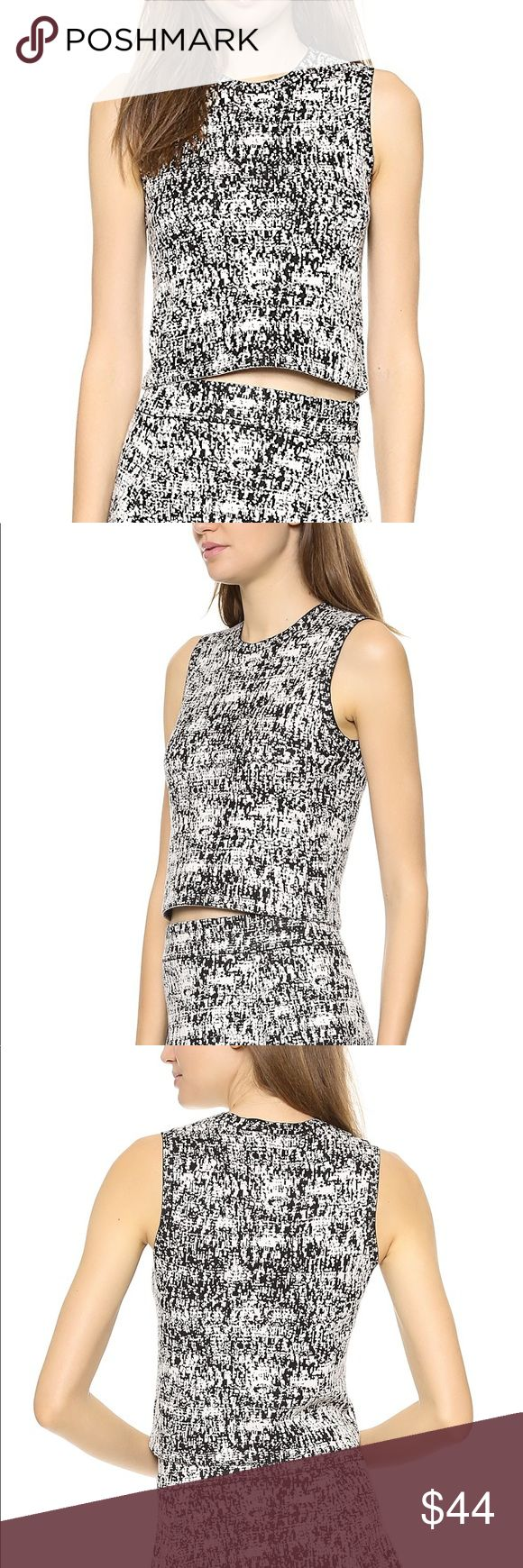 Theory Breeta Tweedscape Knit Tweed Pattern Top A cropped Theory top effects the look of hazy tweed with two-tone stitches. Banded crew neckline. Sleeveless. Fabric: Double-knit. 53% cotton/41% viscose/5% polyester/1% spandex. Dry clean. Measurements Length: 18in / 46cm, from shoulder Measurements from size S - worn only once - No flaws / perfect condition - Can fit XS as well - PRICE IS FIRM - NO TRADES Theory Tops Tank Tops