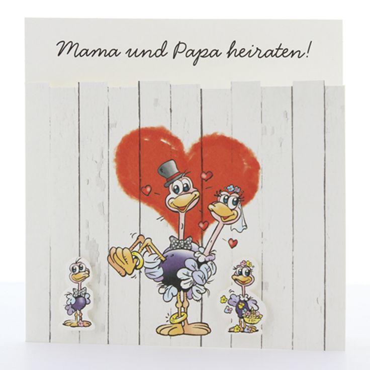 """Lustige Hochzeitskarten""""Straußenpärchen""""- Straußenkinder individuell durch verschiedene Applikationen gestaltbar - eine fröhliche Karte!"""