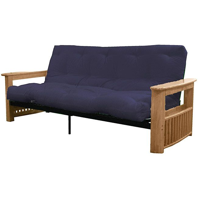 Epic Columbus Natural Queen Premier Mattress Futon Set Frame Finish With Navy Blue