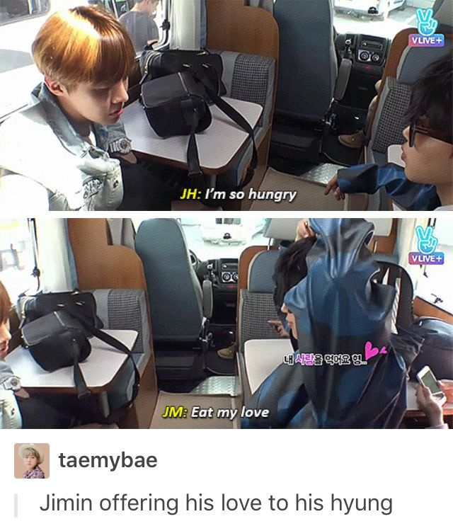 """Eat my love."" - Jimin to Jhope"