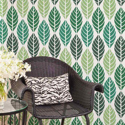 Leaves Stencil Tropical Wallpaper Pattern   Leaf Stencil Design For Walls