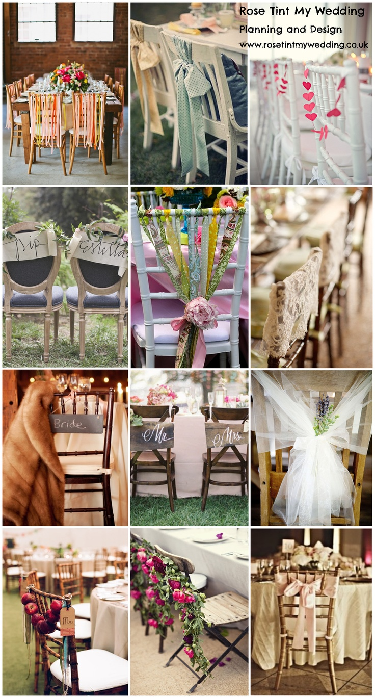 Sitting Pretty: Our Top 12 chair decor ideas for your wedding. Visit www.rosetintmywedding.co.uk for bespoke wedding planning and design UK.