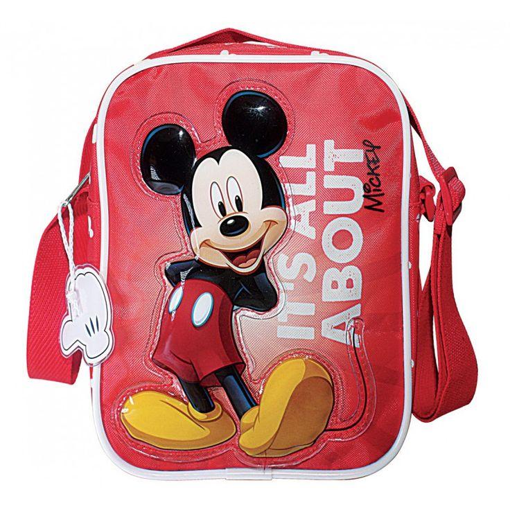 Sac bandoulière vertical Mickey sur fond rouge  Face avant en toile avec Mickey en relief sur une patch plastique brillant.  Les autres parties du sac sont en toile synthétique  Haut 21cm Larg 16cm Prof 5cm