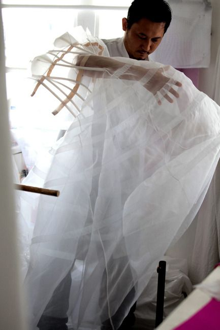 The process of making look #46 for Christian Dior haute couture f/w 2012, photographed by Sophie Carre: