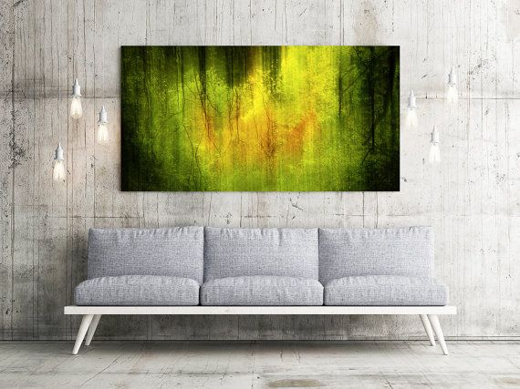 Extra large wall art - Large art - Original Art - Panorama Art - Green Abstract - Forest Abstract - Trees Art - Oversized art - METAL PRINT