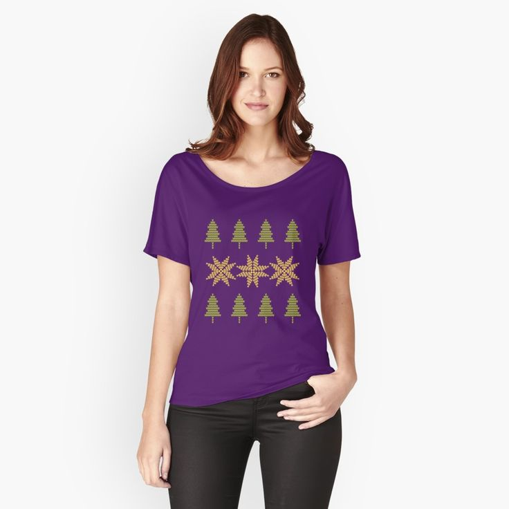 Knitted Xmas Women's Relaxed Fit T-Shirt Front