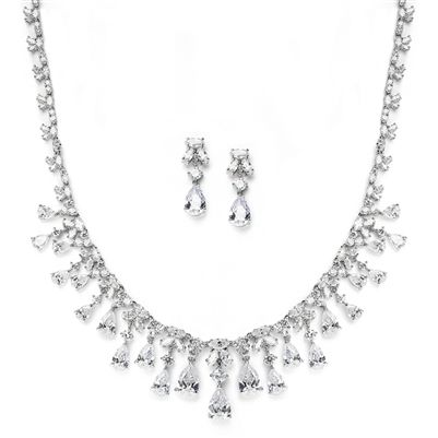 Antique Silver Clear CZ Cubic Zirconia Necklace Bridal Jewelry Set
