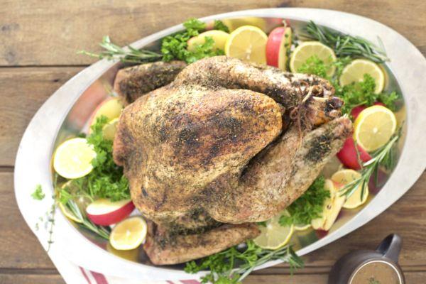 Pomegranate-Brined Roast Turkey Recipe — Dishmaps