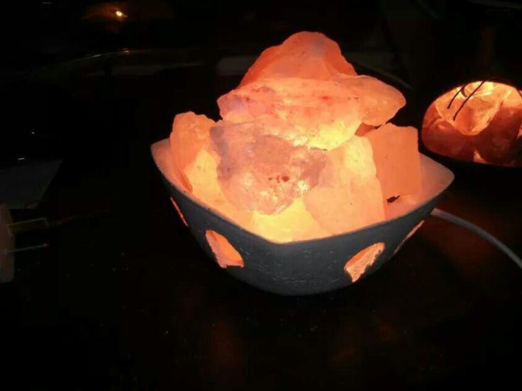 Lampara de sal cuadrada lamparas de sal rosada del - Piedra de sal del himalaya ...