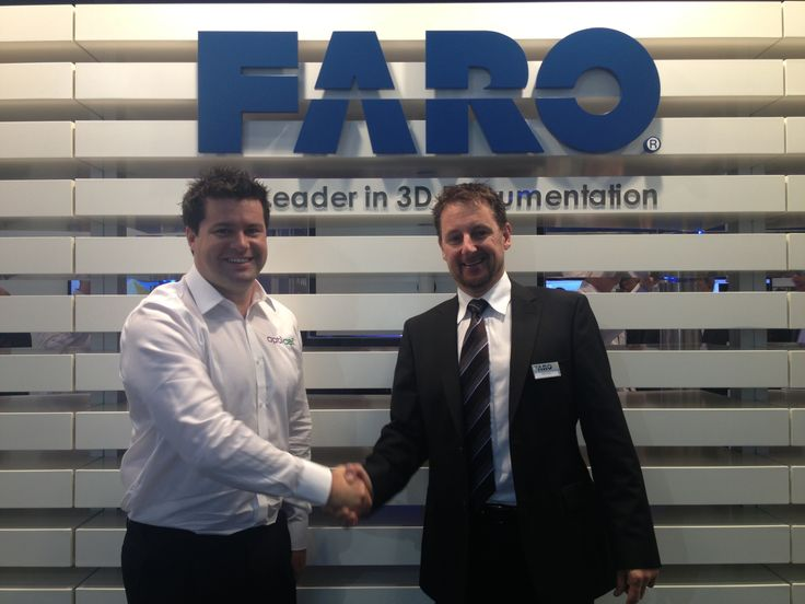Opti-cal's own Mr Nash receiving the very first Faro Focus3D X330 laser scanner at InterGeo 2013
