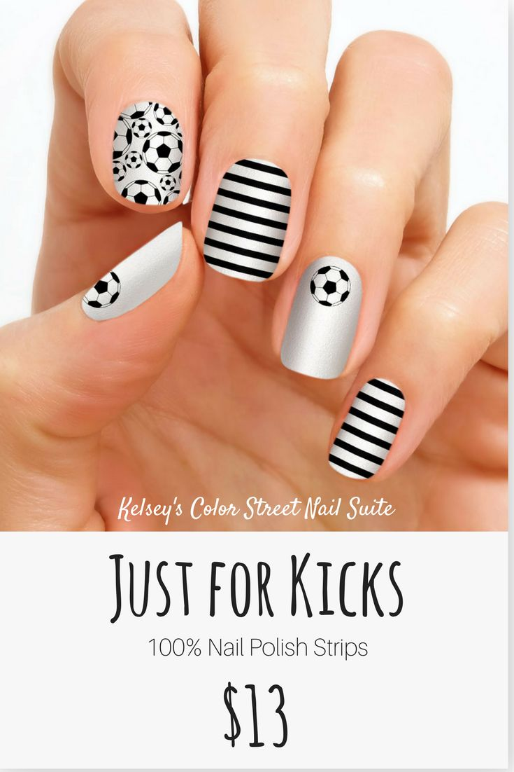 Color Street Just for Kicks. Soccer lovers nail art. Apply dry for a fast and easy manicure. Click for purchase options. | Soccer nails, Color street nails, Nails