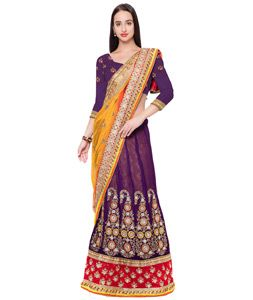 Buy Purple Georgette Lehenga Saree 75879 with blouse online at lowest price from…