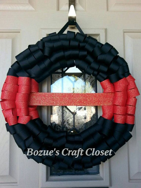 Thin Red Line Memorial wreath, Firefighter wreath, thin ...