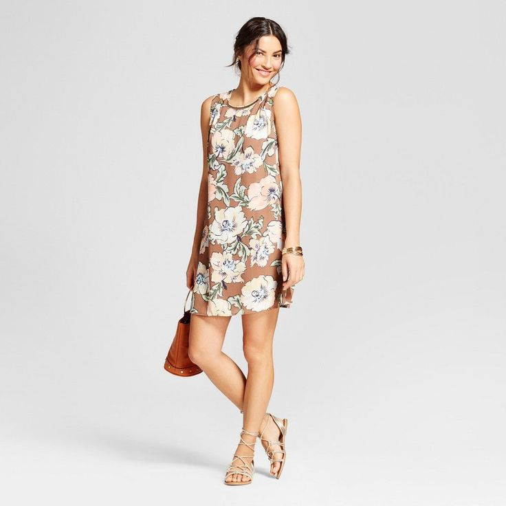 Women's Floral Printed Tank Dress with Necklace Bar - Lux II - Mocha Combo 16, Brown