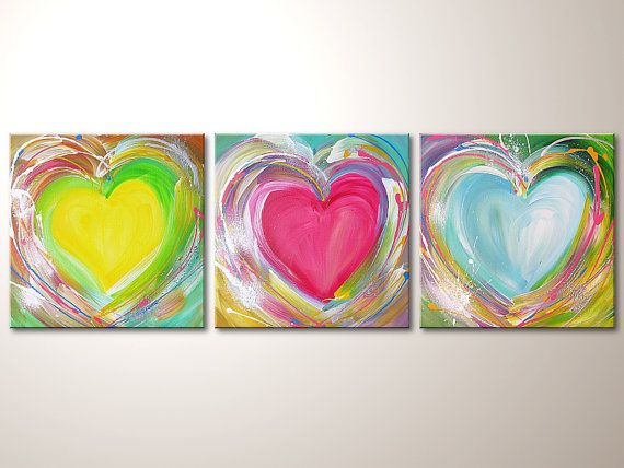 Title: Love    Size: 47.24 x 15.75 (3x 15.75x15.75) inches artist: Henriette Szabo - freelanced artist     - with high quality artist acrylics and