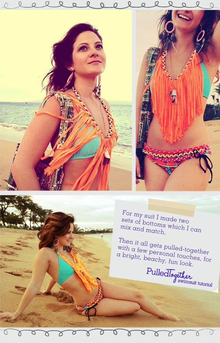 I wanna try this! DIY Fringe Bathing Suit!