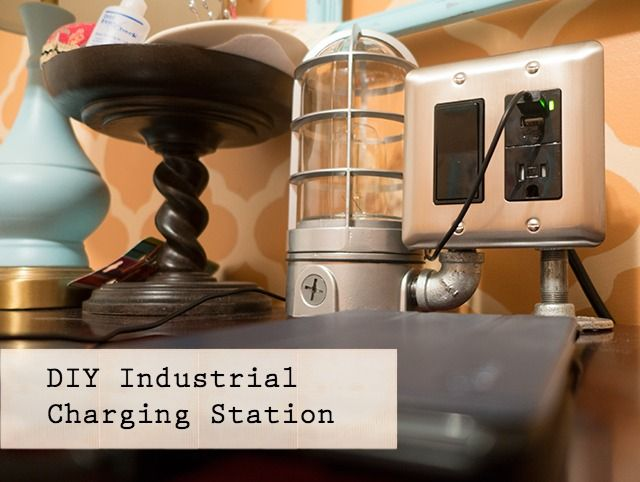 DIY Industrial Charging Station - with 2 USB ports, electrical outlet and built-in accent light!