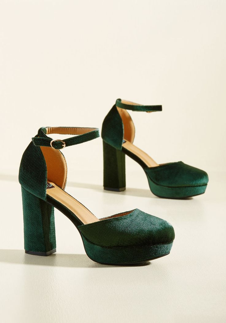 Go With the Stride Velvet Heel in Pine - Green, Solid, Special Occasion, Prom, Party, Cocktail, Girls Night Out, Holiday, Holiday Party, Homecoming, Wedding Guest, Rockabilly, Vintage Inspired, 50s, Luxe, Statement, Fall, Winter, High, Better, Platform, Chunky heel, Variation, Green, Saturated, Exclusives
