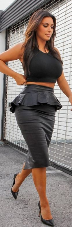 Hmmm, I'd be inclined to try this: half top  high-waist peplum skirt.